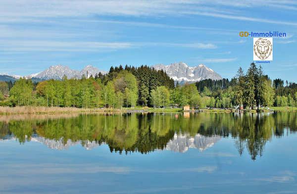 Schwarzsee bei Kitzbühel mit Blick zum Kaiser